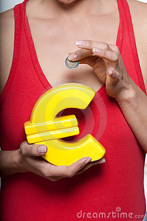 Woman with small savings and Euro shaped piggyban
