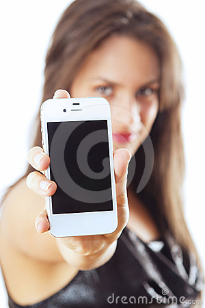 Woman With Smart Phone Royalty Free Stock Image - Image: 24613226