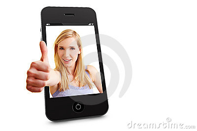 Woman in smartphone holding thumbs