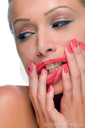 Woman With Smeared Lipstick Stock Photo - Image: 17673640