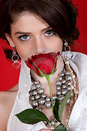 Free Woman Smelling Rose Stock Image - 6659051