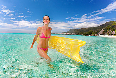 woman smile beach raft