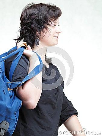 Woman smile nd shoulder bag