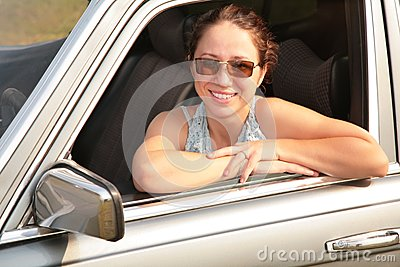 Woman smile in car