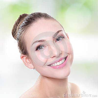 Woman smile face with health teeth close up