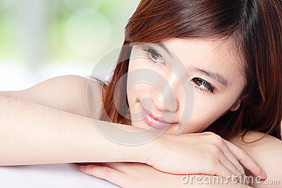 Woman smile face and look to copy space