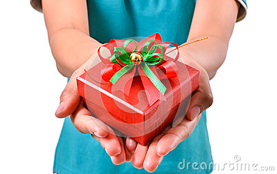 Woman smile and hold gift box in hands