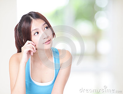 Woman smile look to empty copy space