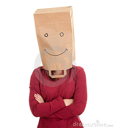 Woman in smiling ecological paper bag on head