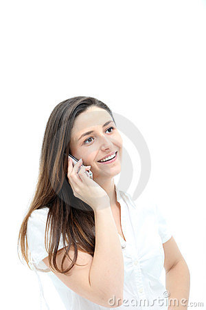 Woman Smiling Happily On Mobile