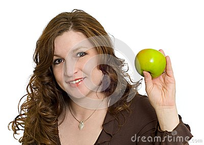 Woman Smiling Holding Healthy Fresh Green Apple