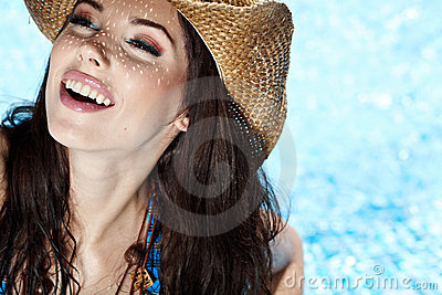 Woman smiling in pool