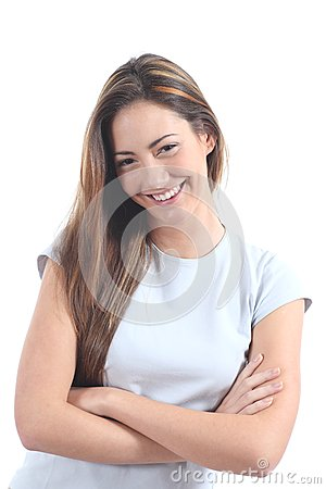 Woman smiling with a seductive glance