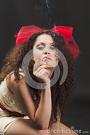 A woman smokes