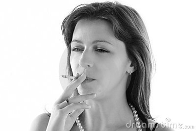 Woman is smoking