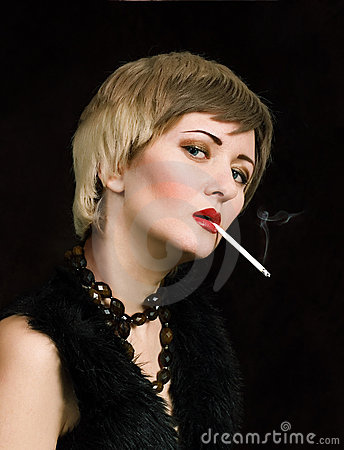 Woman With Smoking Cigarette Stock Image - Image: 13212761