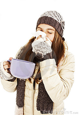 Woman sneezing nose having cold