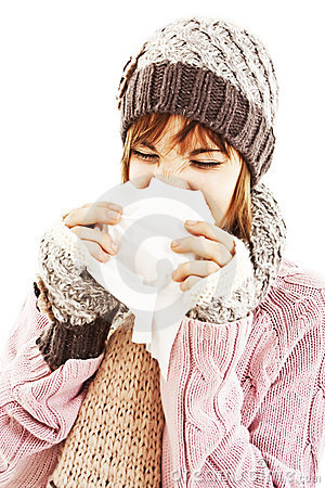 Woman Sneezing. Winter style