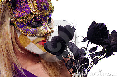 Woman sniff black roses