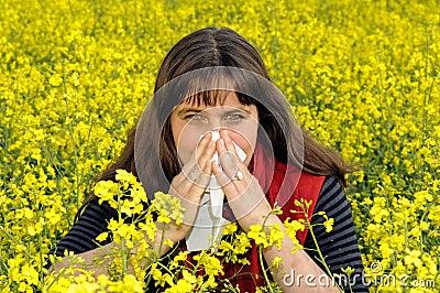 Woman sniffs