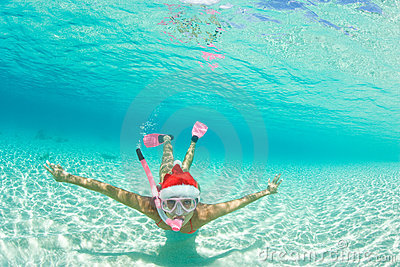 Woman snorkel christmas holiday