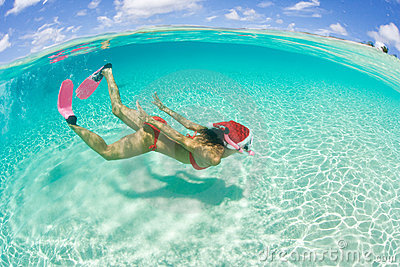 Woman snorkel christmas holiday