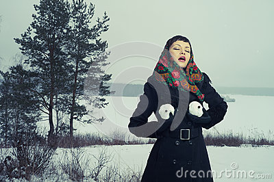 Woman with snow-balls