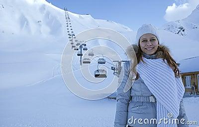Woman in snow mountain