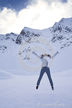 Woman in snow mountain
