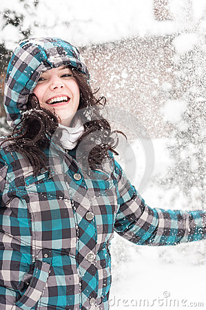 Woman in snow at winter