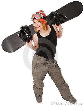 Woman with a snowboard