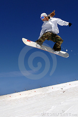 Free Woman Snowboarder Jump Slope Stock Image - 4731761