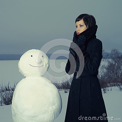 Woman with snowman