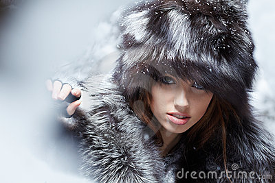 woman in snowy winter outdoors