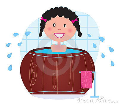 A woman soaking in whirlpool / cold barrel tub