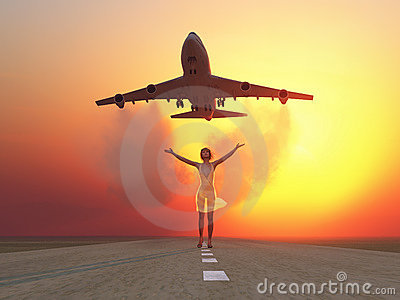 Woman and soaring flight