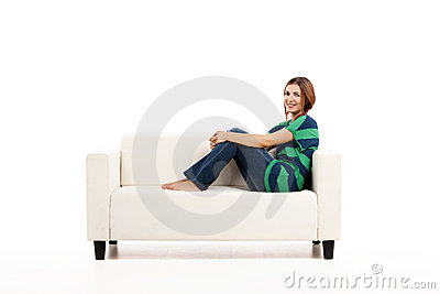 Woman at the sofa