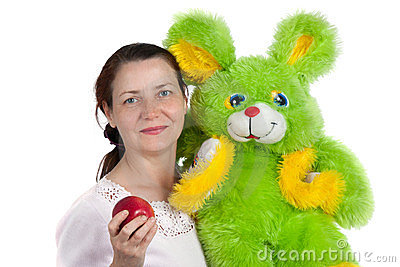 The woman with a soft toy