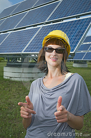 Woman and solar panels