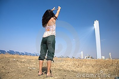 Woman and solar power