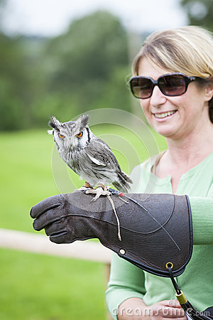 Woman with a Southern White-faced Owl on her Falconry Glove