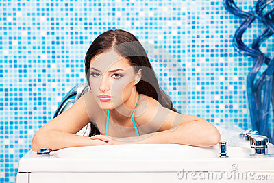 Woman in spa center