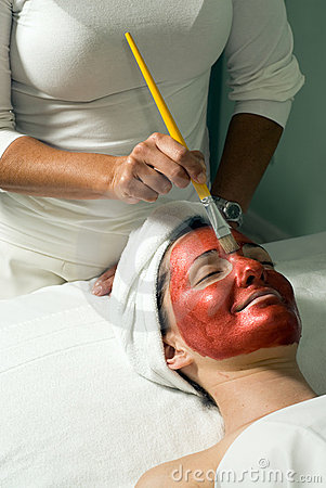 Woman at Spa Getting Facial Mask- Vertical, Side