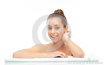 Woman at spa, portrait
