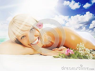 Woman in a spa salon
