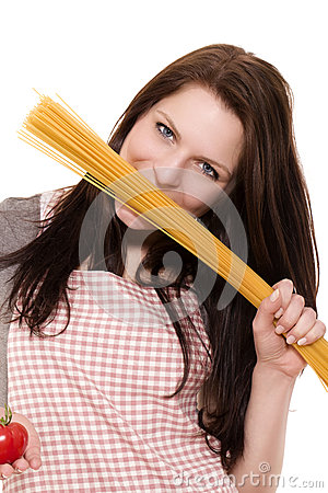 Woman with spaghetti and tomato