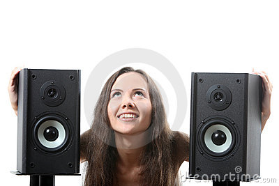 Woman with a speakers