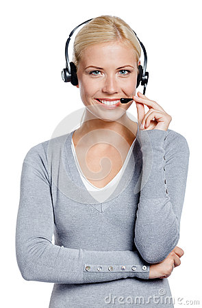 Woman speaking on the earphone