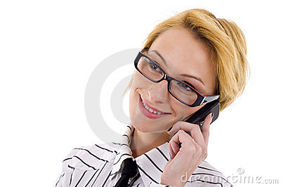 Woman speaks on phone