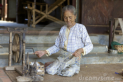 Woman Spinning Cotton Myanmar Editorial Photo